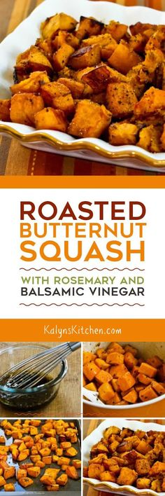 Roasted Butternut Squash with Rosemary and Balsamic Vinegar is a mind-blowing side dish that's low-glycemic, Paleo, Whole 30, gluten-free, dairy-free, vegan, and South Beach Diet friendly. [found on KalynsKitchen.com] #ButternutSquash #Low-Glycemic #Vegan #GlutenFree #SouthBeachDiet