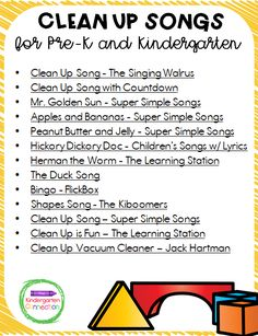 Make clean up and transition times more fun with this list of Clean Up Songs that are perfect for Pre-K and Kindergarten! Kindergarten Lesson Plans, Preschool Songs, Kindergarten Learning, Preschool Lessons, Kindergarten Freebies, Teaching Reading, Transition Songs For Preschool, Preschool Transitions, Songs For Toddlers