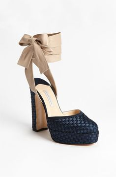 Bionda Castana | navy taupe satin bow woven platform pumps heels shoes