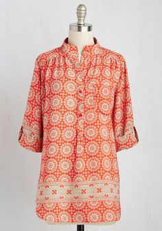 Cook Lively! Top in Tangerine | Mod Retro Vintage Short Sleeve Shirts | ModCloth.com