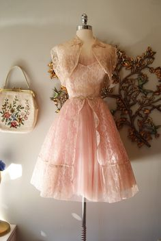 Sweet sixteen is this delicate little 50's pink accordion pleated party dress with matching jacket. So many requests for this one!