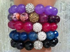 Beaded Bracelet Purple and Gold Agate by LindsayRaeDesigns on Etsy. Lindsay Rae Designs on Facebook
