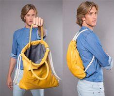 Yellow leather backpack men – UNISEX leather handbag, multi-way bags SALE Mens leather bag sack backpack gym backpack laptop backpack purse Gelber Lederrucksack Herren UNISEX Lederhandtasche multi Gym Backpack, Drawstring Backpack, Mochila Jeans, Leather Handbags, Leather Purses, Leather Bag, Soft Leather, Unisex, Diy Bags