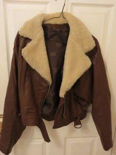 Vintage-femme-en-cuir-marron-aviateur-veste-taille-l-achete-1980s-London