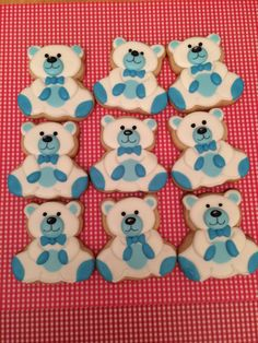 blue and white teddy bear baby shower cookies