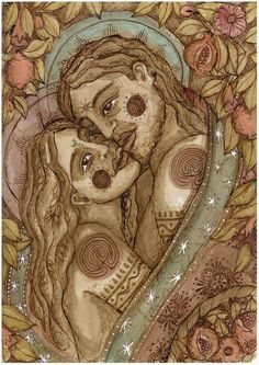 Sacred Lovers 2 - The Art of Lucy Pierce Twin Flame Love, Twin Flames, Arches Watercolor Paper, Epson Ink, Ink Wash, Expressive Art, Love Is Sweet, Fine Art Paper, Giclee Print