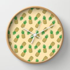 Creamy Pineapple Summer Pattern Wall Clock
