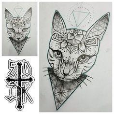 Cat mandala tattoo