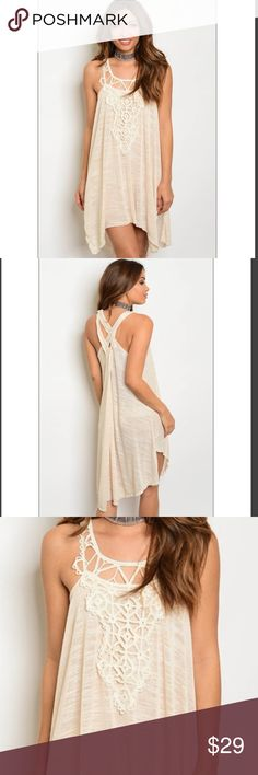 """💕Final Price! 24 hr sale. Cross back tunic dress 💕Cross back tan/cream tunic dress with crochet pattern💕. 65% polyester 30% cotton 5% spandex Measurements: LF: 31"""" LB: 38"""" B: 28"""" W: 36"""". Price is firm Dresses High Low"""