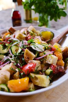 Panzanella! One of my all-time summer favorites. (Of course it is. It has bread in it. Hello!)