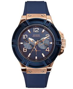 fossil men s automatic grant navy leather strap watch 44mm me3054 guess men s blue silicone strap watch 46mm u0247g3