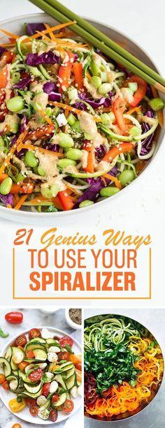 Et une fois que vous l'avez, voici 21 recettes fraîches à vous en spira-lize. Lol désolé. | 21 Genius Ways To Turn Vegetables Into Noodles