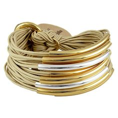 Gillian Julius Multi Tube Bracelet, Mixed Gold & Silver   Sand Cord. Multi strand bracelet consisting of 20 waxed cotton cords. Each cord of bracelet features either a silver or iridium tube.  $275