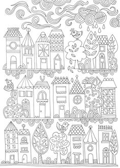 COLOURING POSTER: Tiny Town Lámina para colorear // Free adult colouring page. Illustrated by Lisa Tilse for We Are ScoutLámina para colorear // Free adult colouring page. Illustrated by Lisa Tilse for We Are Scout Free Adult Coloring Pages, Free Printable Coloring Pages, Coloring Book Pages, Free Coloring, Coloring Sheets, House Colouring Pages, Doodle Drawings, Doodle Art, Embroidery Patterns