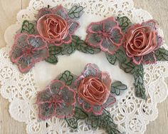 Flower Applique ROLLED RIBBON and SATIN with by frogfeathers, $2.59