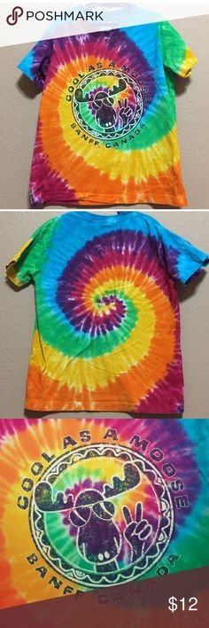 'Cool as a Moose' Tie Dye Tshirt from Canada Kids Tshirt size Large. Looks barely worn. Shirts & Tops Tees - Short Sleeve