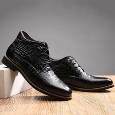 Mesh Dress Crocodile Pattern Pointed Toe Leather Short Boots For Men