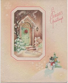Used 1950s Christmas Card Season's Greetings Doorway