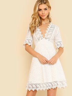 Lace Trim Eyelet Embroidered Dress Women White Deep V Neck Half Sleeve Cut Out Plain Dress Summer Cotton Dress Color White Size XS White Bridesmaid Dresses Short, New Wedding Dresses, Short Dresses, Summer Dresses, Bride Dresses, Lace Wedding, Girls Dresses, Fit N Flare Dress, Maxi Dresses