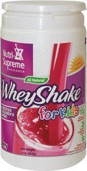 """Nutri-Supreme Research WheyShake for Kids All Natural Fortified Dairy Cholov Yisroel - Berry - 1 LB by Nutri-Supreme Research. $27.50. Protein is a vital macronutrient in your child""""s diet, supplying the amino acids necessary for healthy growth and development. Younger children especially need more protein than adults because their bodies are still growing.Nutri-Supreme WheyShake for Kids contains 10 grams of protein with a full complement of amino acids your child requires for ..."""