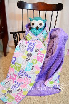 Forest Friends Baby Blanket - Owls, Deer, Rabbits - Purple, Aqua, Pink - Purple Minky - Perfect Carset/Stroller/Pack-n-Play Size, Neutral on Etsy, $42.00
