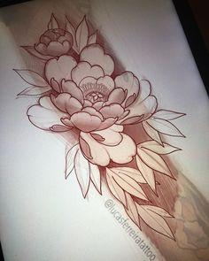 Tattoo Sketch Art, Tattoo Drawings, Rose Tattoos For Men, Tattoos For Guys, Flower Tattoo Designs, Flower Tattoos, Tatto Floral, Black And White Flower Tattoo, Peony Drawing