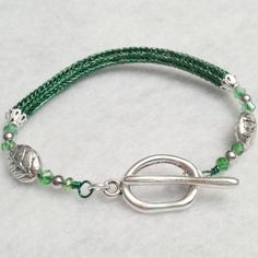 Ladies Viking knit chain bracelet: emerald green and silver, $26