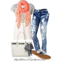 """Leopard & Coral"" by alexis1707 on Polyvore Love the pants"