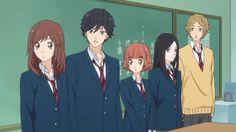 Look at them, they all volunteeredXD Futaba Y Kou, Beautiful Girl Video, Ao Haru, Blue Springs Ride, Romance And Love, Otaku, Matching Pfp, Shoujo, Anime Couples