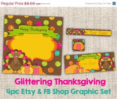 Thanksgiving Etsy Banner Shop Set - Facebook Timeline Set - Yellow, Pink, Brown - Etsy Shop Set and Facebook Shop Set for Autumn - pinned by pin4etsy.com