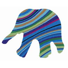 This certainly won't be the elephant in the room as this fun striped rug in the shape of an elephant is too vibrant and bright to be ignored.