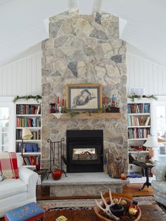 Field Stone Fireplace a fieldstone fireplace makes a great focal point for a cabin
