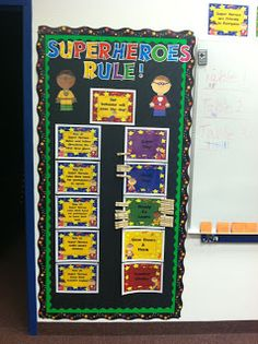 Diary of a Not So Wimpy Teacher: Super Hero Classroom Superhero Classroom Decorations, Classroom Setup, Kindergarten Classroom, Classroom Organization, Classroom Management, Superhero Rules, Superhero Room, Superhero Ideas, Beginning Of School