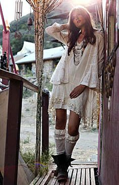 Boho chic fashion, modern hippie style crochet dress  leather boots, gypsy layered necklaces.