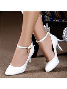 Simple 2014 New Arrive Pointed End White High Heels Wedding Shoes