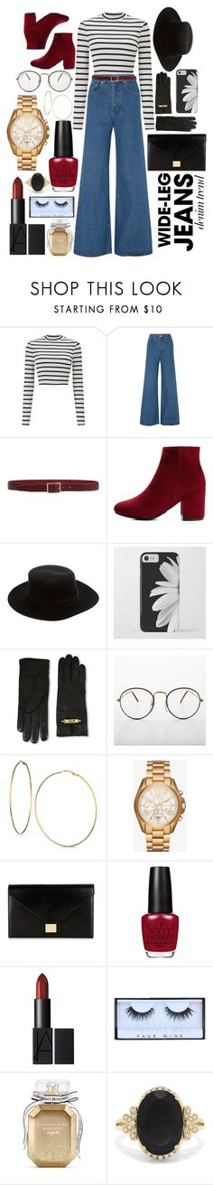 """""""Denim Trend"""" by lexiaverett ❤ liked on Polyvore featuring Miss Selfridge, Solace, Orciani, Janessa Leone, Moschino, GUESS, Michael Kors, Victoria Beckham, Victoria's Secret and Effy Jewelry"""