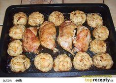 Pečené kuře s houbovými knedlíky recept - TopRecepty.cz Meat, Chicken, Cooking, Cubs