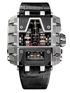 Terminator Timekeeper The Terminator Timekeeper is titanium with a choice of a black, gold, red, blue or purple movement. They are about $155,000 and limited to 25 pieces.
