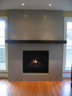 fireplace surround tile modern cement - Google Search
