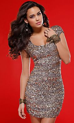 PRIMA Glitz GX1311 Cap Sleeve Sequin Cocktail Dress. Luxurious cocktail dress with outer 100% silk shell layered with metallic colored sequins for a stunning effect. Available in Lead/Gold or Black/Co