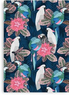 69 Ideas Flowers Tropical Illustration Floral For 2019 Tropical Birds, Colorful Birds, Tropical Prints, Tropical Garden, Bird Painting Acrylic, Black Bird Tattoo, Bird Patterns, Color Pencil Art, Unique Wall Art