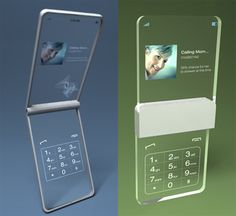 The Glassy Glassy Phone concept (in two configurations) was dreamed up by Tokyo designer Mac Funamizu