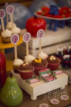 Fun cupcakes at a farm birthday party! See more party ideas at CatchMyParty.com!