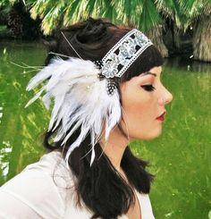 Princess Headdress. White Peacock Headband in Silver and White w/ Faux Diamonds.