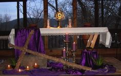 Lent Church Decorations | Old chapel decorated for Lent.
