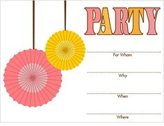 Generic Girly Party Printables (Invite, banner, cupcake toppers, thank you party favor tags, drink flags, tented food labels, water bottle wrappers, cupcake wrappers, yard sign)