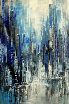 paisaje urbano TECH HAPPINESS by Tatiana Iliina, Painting, x :: This is an Original Palette Knife Cityscape Painting. Sides of the canvas are painted dark gray and can hung with o Abstract City, Abstract Landscape Painting, Landscape Paintings, Blue Abstract, Art Paintings, Impressionism Art, Impressionist Paintings, City Painting, Painting Canvas