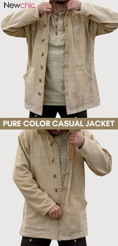 off】Mens Cotton National Style Vintage Hooded Long Sleeve Pure Color Casual Jacket. Fashion Socks, Mens Fashion, Fashion Outfits, Hooded Long Sleeve Shirt, Long Sleeve Shirts, Casual Outfits, Cool Outfits, Men's Wardrobe, Style Vintage