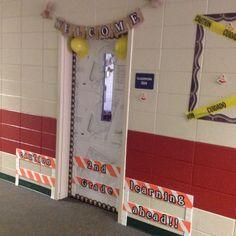Construction theme classroom door. Chalk it up!