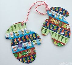 These washi tape mitten ornaments are adorable and no two 'pairs' are alike. They also make cute gift tags.